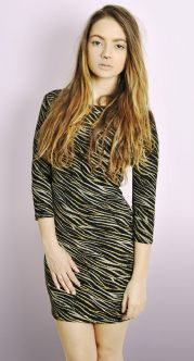 Zebra Glitter Cowl Back Dress
